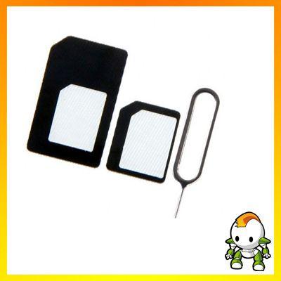 Nano-SIM Adapter & SIM-Karten Pin - Set / Kit - iPhone 5 - Schwarz